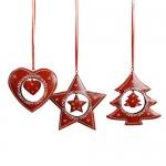 Декор Елка/Звезда/Сердце 12см металлический красный с подвеской 3 в ассортименте